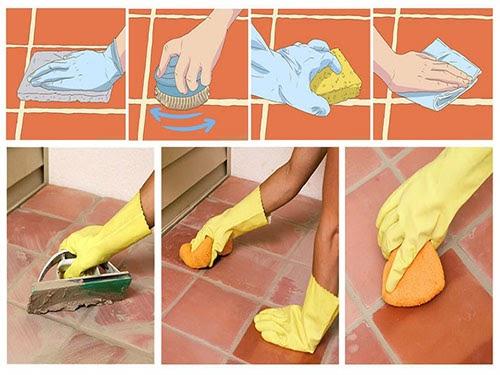 Cách làm sạch nền gạch tàu