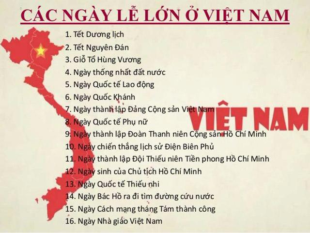 Tổng hợp một số ngày lễ lớn tại Việt Nam